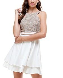 Juniors' Glitter Lace Fit & Flare Dress