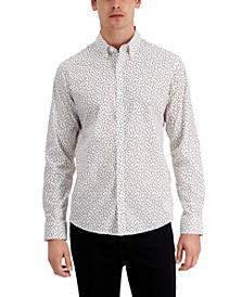 Men's Slim-Fit Stretch Double Petal-Print Shirt