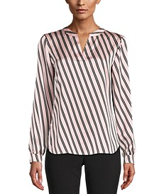 Striped Split-Neck Top