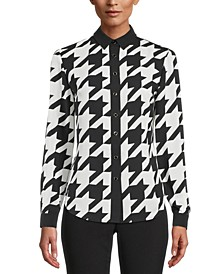 Houndstooth Button-Down Blouse