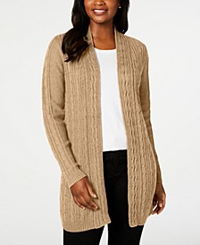 Petite Cable-Knit Open-Front Cardigan, Created for Macy's