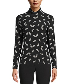 Printed Turtleneck Top