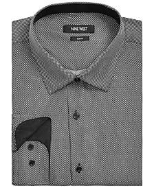 Men's Slim-Fit Performance Stretch Diamond Dot-Print Dress Shirt