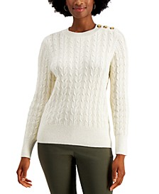Button-Shoulder Cable-Knit Sweater, Created for Macy's