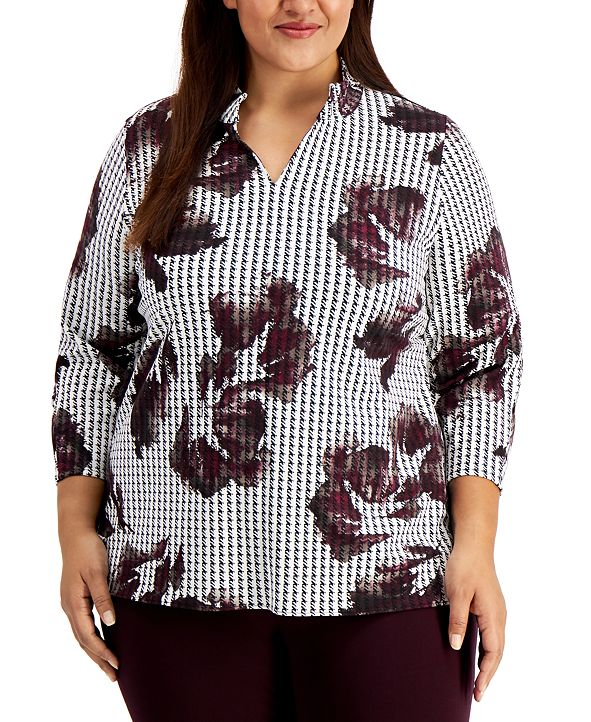 Alfani Plus Size Printed 3/4-Sleeve Top, Created for Macy's