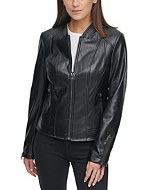 Faux-Leather Zip-Front Jacket
