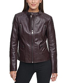 Faux-Leather Moto Coat