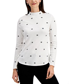 Cotton Bow-Print Mock-Neck Top, Created for Macy's
