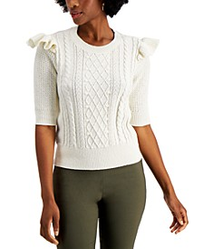 Ruffle-Trim Cable-Knit Top, Created for Macy's
