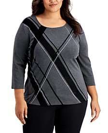 Plus Size Evening Decor Plaid-Front Top, Created for Macy's