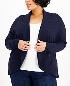 Plus Size Curved Shawl-Collar Cardigan, Created for Macy's