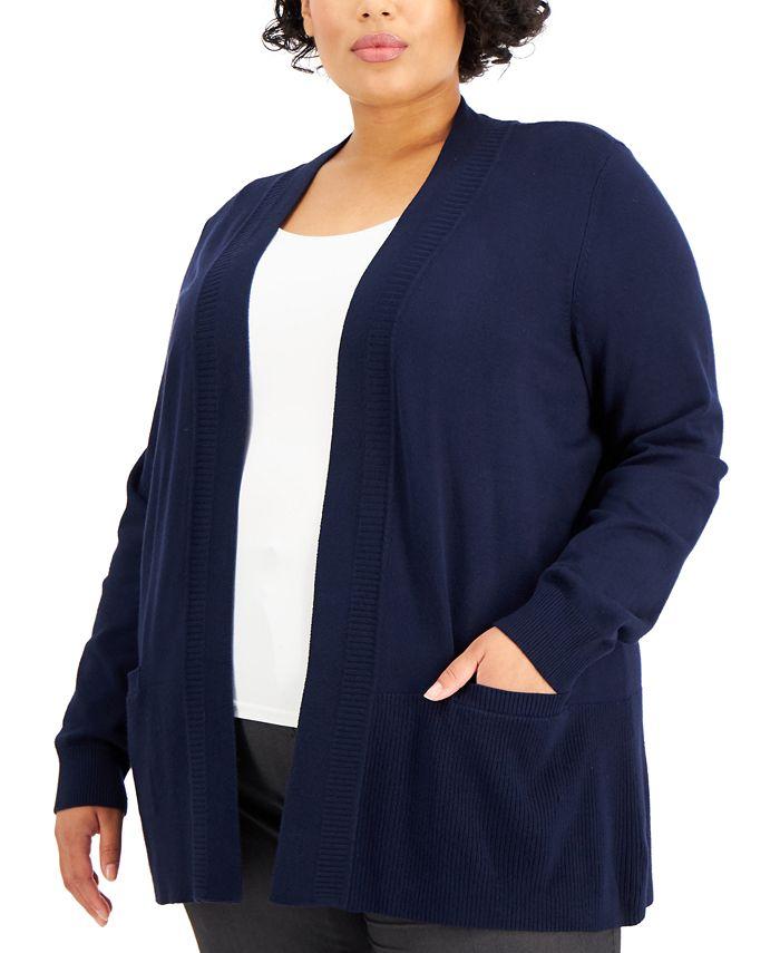 Karen Scott - Plus Size Ribbed Open-Front Cardigan
