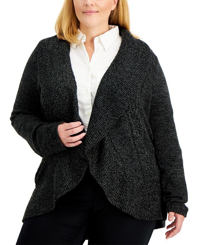 Karen Scott - Plus Size Cocoon Open-Front Cardigan