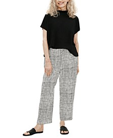 Checked Slouchy Cropped Pant