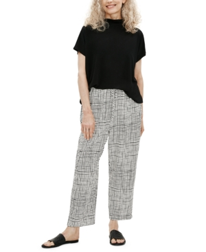 Eileen Fisher CHECKED SLOUCHY CROPPED PANT