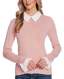 Cotton Collared Imitation-Pearl Sweater