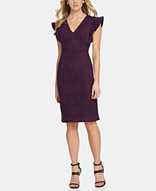 Ruffled Cap-Sleeve Sheath Dress
