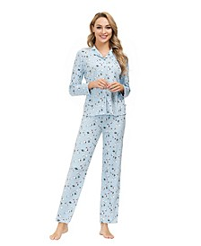Women's Ribbon Folded Notch 2 Piece Pajama Set