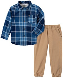 Jean Toddler Boys Plaid Woven Shirt and Jogger Pant 2 Piece Set