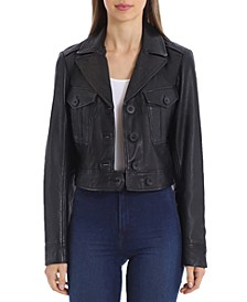 Cropped Leather Trucker Jacket