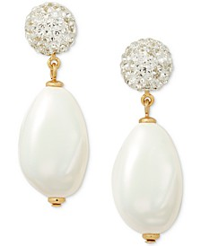 Gold-Tone Pavé Fireball & Imitation Pearl Drop Earrings