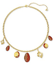 """Two-Tone Crystal Charm Statement Necklace, 14-7/8"""" + 2"""" extender"""