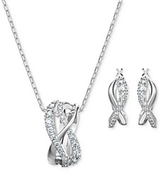 Silver-Tone Crystal Intertwined Pendant Necklace & Hoop Earrings Set