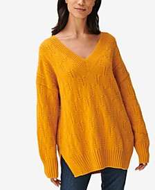 Drop-Sleeve Braided-Stitch Sweater