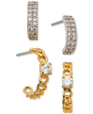 Two-Tone 2-Pc. Set Cubic Zirconia Hoop Earrings