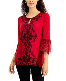 Printed Bell-Sleeve Top, Created For Macy's