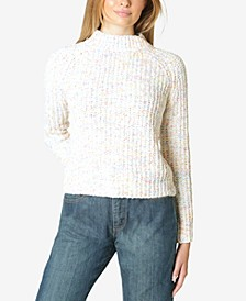 Juniors' Marled Chenille Mock-Neck Sweater