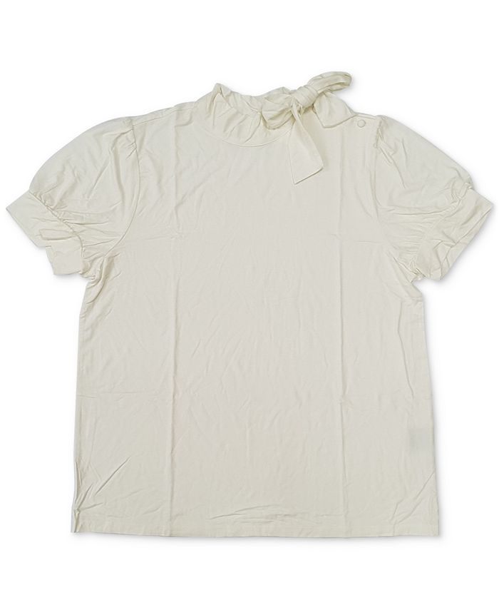 Charter Club - Short-Sleeve Bow-Neck Blouse