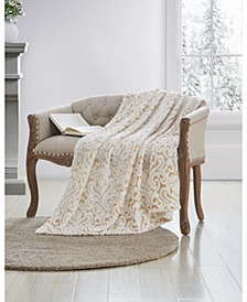 Metallic Damask Plush Throw