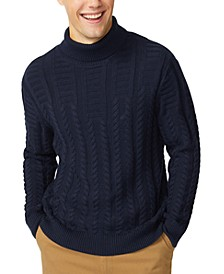 Men's Textured Cable Turtleneck Sweater