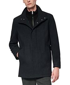 Men's Coyle Melton Wool Car Coat with Inset Knit Bib