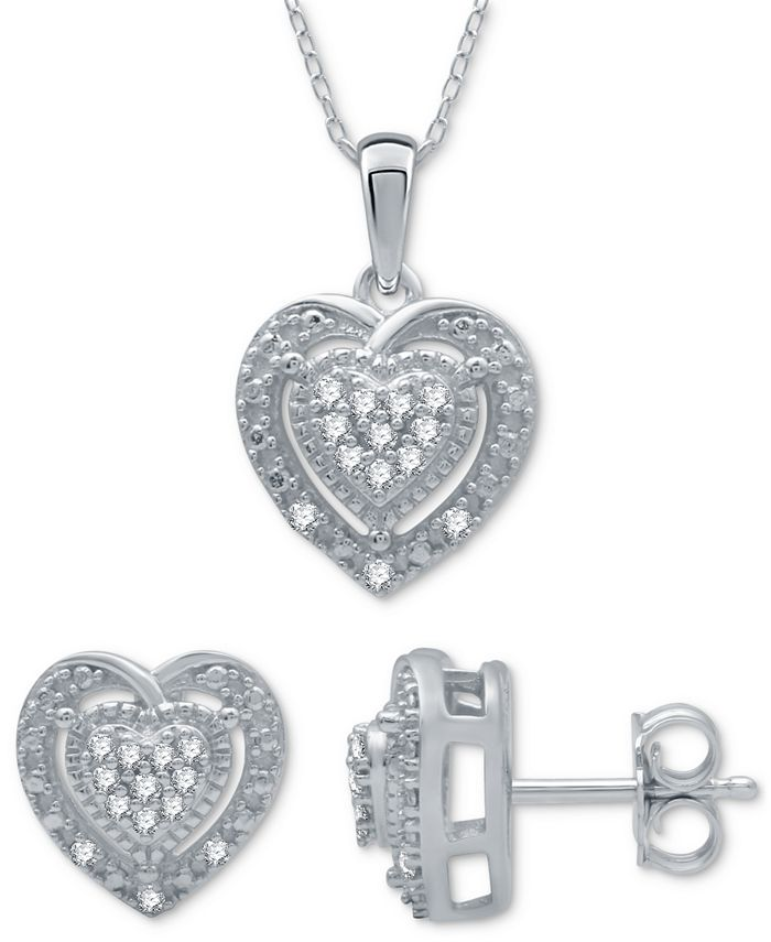 Macy's - 2-Pc. Set Diamond (1/6 ct. t.w.) Heart Cluster Pendant Necklace & Matching Stud Earrings in Sterling Silver