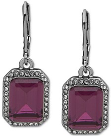 Pavé & Square Stone Drop Earrings