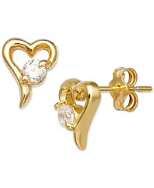 Cubic Zirconia Heart Stud Earrings in 18k Gold-Plated Sterling Silver, Created for Macy's