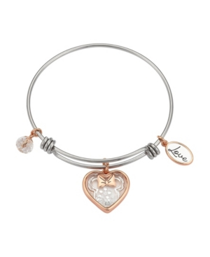 Two-Tone Minnie Mouse Shaker Charm Bangle Bracelet in Fine Silver Plate