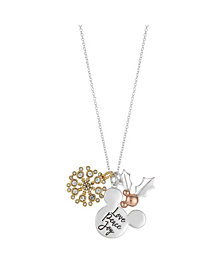 """Disney Tri-Tone Mickey Mouse """"Love, Peace, Joy"""" Holiday Crystal Charm Necklace in Fine Silver Plate"""