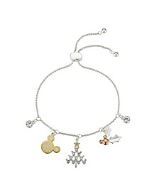Tri-Tone Mickey Mouse Cubic Zirconia Holiday Charms Bolo Bracelet in Fine Silver Plate