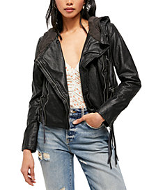 Free People Cleo Faux Suede Hooded Jacket