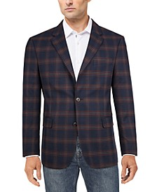 Men's Modern-Fit Navy/red plaid Sport Coat