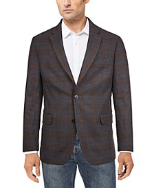 Men's Modern-Fit Charcoal/Brown Plaid Sport Coat