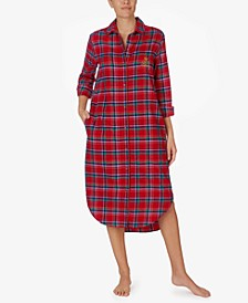 Brushed Flannel Long Sleep Shirt Nightgown