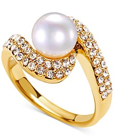 Gold-Tone Pavé & Imitation Pearl Ring, Created for Macy's