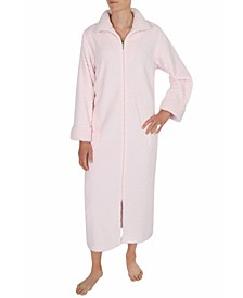 Sculptured Fleece Long Zipper Robe