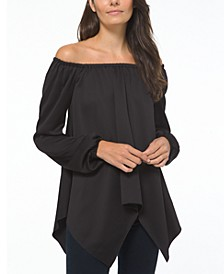 Michael Kors Plus Size Satin Handkerchief Hem Top