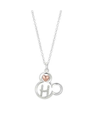 DISNEY TWO-TONE MICKEY MOUSE INITIAL PENDANT NECKLACE