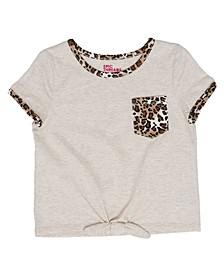 Toddler Girls Short Sleeve Tie Front Mix and Match Pocket Tee